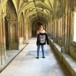 Emily and her Joslin Hoodie in England. Here they are in the cloister where they filmed the Harry Potter Films.