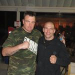 Scott with his Camo Joslin's MMA shirt with Rory in Afghanistan..